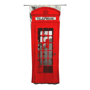 "Oriana Cordero ""London"" Red Gray Decorative Sheer Curtain"