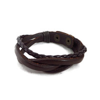 Brown Leather Snap Bracelet, Yik Fung Braided Leather Bracelet