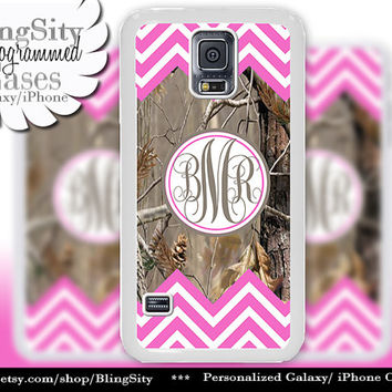 Monogram Galaxy S4 case S5 Hot Pink Chevron Stripes Real Tree Camo Deer Personalized Samsung Galaxy S3 Case Note 2 3 Cover Zig Zag