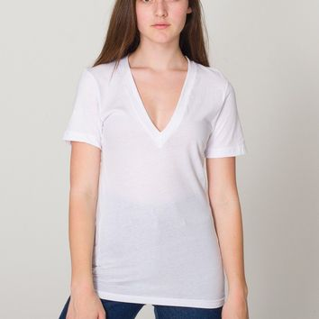6456w - Unisex Sheer Jersey Short Sleeve Deep V-Neck