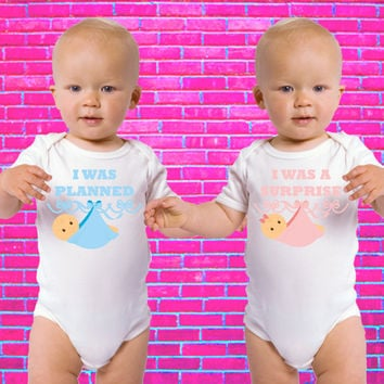I Was Planned / I Was a Surprise | Twin Set Gerber Onesuits ®