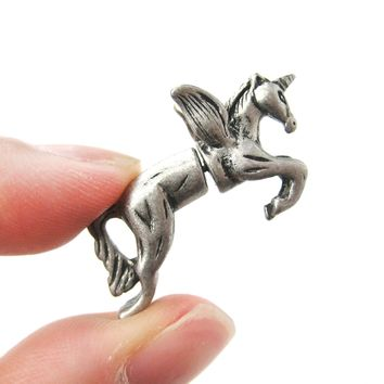 Fake Gauge Earrings: Unicorn With Wings Animal Faux Plug Stud Earrings in Silver