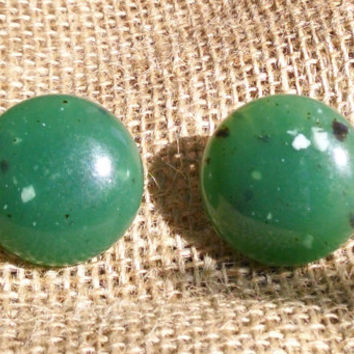 Vintage West German Speckled Green Jade Round Lucite Studs on New Surgical Steel Earring Backs
