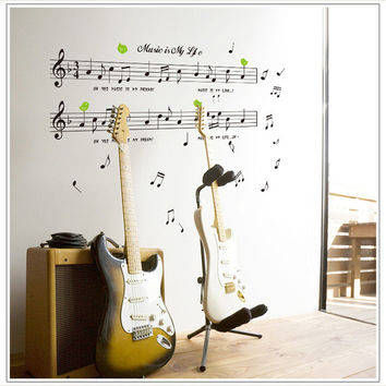 1set Large Size 70 120cm Music Sticker Music Is My Life Theme Music Bedroom  Decor. Best Dance Bedroom Products on Wanelo