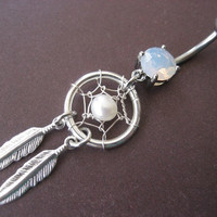 Pearl Dream Catcher Belly Button Ring- Dangly Feather Navel Jewelry Piercing
