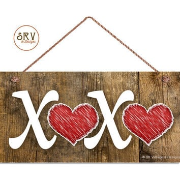 "XOXO Sign, Red Hearts, Hugs and Kisses Sign, Distressed Wood Sign, Rustic Wall Art, 5"" x 10"" Sign, Valentine's Day Gift, Made To Order"