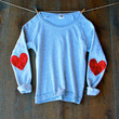 Sequin Heart Elbow Patch Boat Neck Sweatshirt Jumper -  Heather Grey Red Sequin Elbow Patches