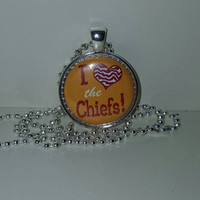 "I Love The Chiefs 1"" Pendant Necklace or choice of Keychain free shipping kansas city chiefs"