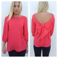 Red Bow Back 3/4 Sleeve Blouse