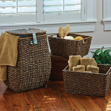 Primitive Hamper & Storage Baskets - Set of 3