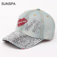 SUNSPA Jean Caps Women Rhinestone baseball caps Adjustable Casquette Rhinestone Hats jean snapback caps denim LOVE pattern hat