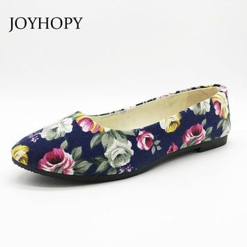 Colorful Printing Women Flats Lady Rose Pointed Toe Slip-On Canvas Loafers