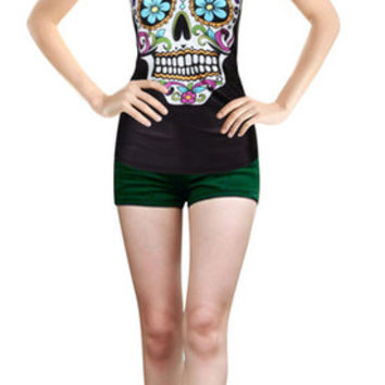Summer 3d vests Cartoon Skull Skeleton personality patterns print camisole Sexy fashion punk tank tops