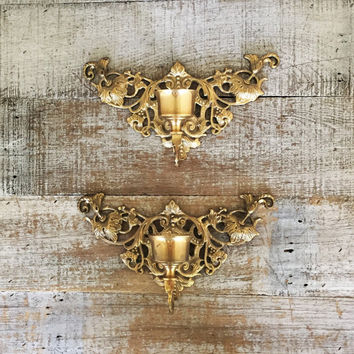 Candle Sconces Pair of Brass Sconces Ornate Brass Candlestick Holders Hollywood Regency Wall Candle Holders Mid Century Wall Mount Candle