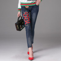 """Gucci""""Gucci""pants Embroider pants cotton imitation cowboy casual pants"
