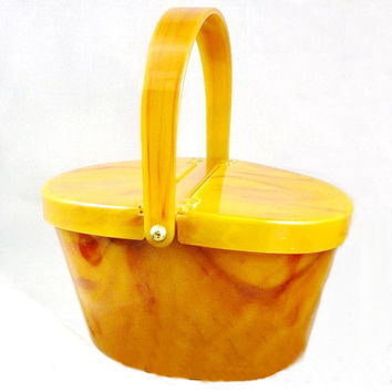 1940s Purse Butterscotch Lucite by Josef,  RARE Picinic Hamper Style, Change Purse and Mirror