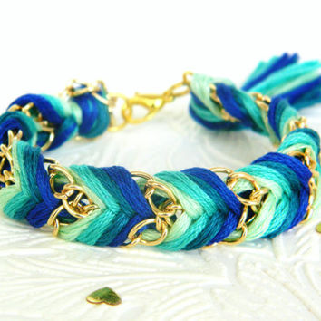Emerald Peacock - Mint, Sea Green, Rich Turquoise, & Royal Blue - Chevron Braided Modern Friendship Bracelet - Gold Chain