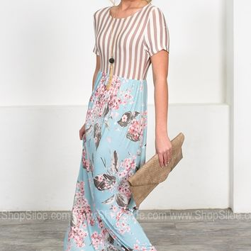Cherry Blossom Striped Maxi Dress