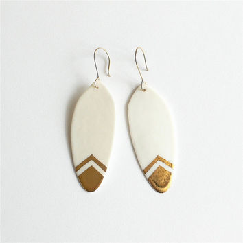 M i l a - Gold feather earrings - Porcelain jewelry & gold filled earwires - Calliope Collection