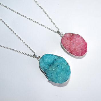 PROMO PRICE Druzy stone necklace pink Blue quartz raw pendant gemstone boho necklace Crystal pendant Silver stone necklace for women