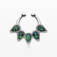 Opal Quinary Spear Fake Septum Clip-On Ring