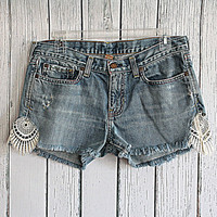 Denim Cut Off Lace Insert Shorts / Upcycled Distressed Jean Shorts Size 8