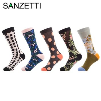 SANZETTI 5 Pairs/Lot Flower Mountain Dot Funny Paint Combed Cotton Crew Women Socks Wedding Gift EU Size 35-42