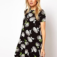ASOS Swing Dress In Mono Daisy Print