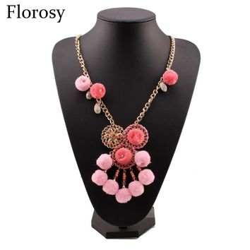 Florosy Gold Color Long Chain Necklace For Women Cotton Ball Shell Pendant Crystal Acrylic Bead Statement Handmade Necklace