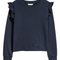 Flounce-trimmed Sweatshirt - from H&M