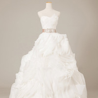 Asymmetrical Ruffled Organza Wedding Dress