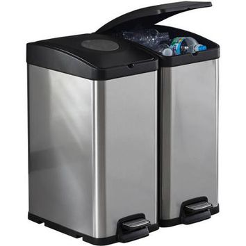 Better Homes and Gardens 30L Stainless Steel Rectangle Recycling Trash Can - Walmart.com
