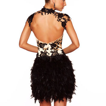 Mac Duggal 2012 Homecoming Dresses - Black & Nude Lace & Feather Cap Sleeve Open Back Homecoming Dress