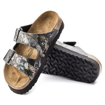 Sale Birkenstock Arizona Birko Flor Golden Age Black 1007087 Sandals