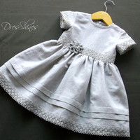 Gray linen dress Baby girl holiday outfit 1 year anniversary gift Linen lace flower dress with bloomers Eco friendly childrens clothing