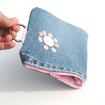 Gadget Case Denim Wallet with Recycled pink by SmiLeaGainCreations