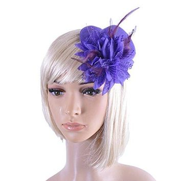 DJHbuy Lady Cocktail Tea Party Flower Feather Fascinator Hat Hair Clip Wedding Accessory