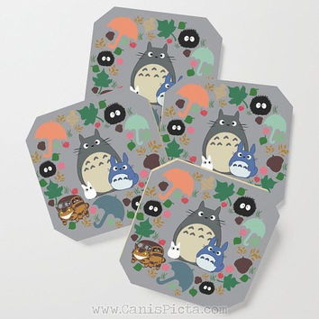 My Neighor Totoro COASTERS Mug Cup Drink Beverage Place Holder Pop Culture Fan Manga Hayao Miyazaki Studio Ghibli Anime Kawaii Movie Cute