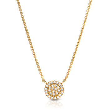 Small Pave Disc Necklace - 6.5mm diameter