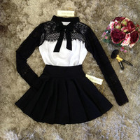 Womens Sweet Autumn Winter Lace Long Sleeve Pleated Waisted Dress