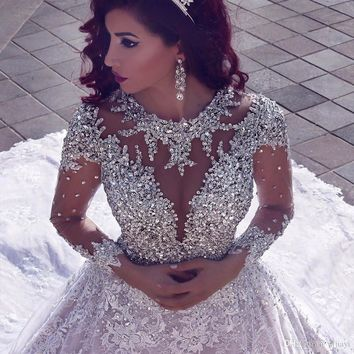 Luxury Beading Long Sleeve Muslim Wedding Gowns With Long Train
