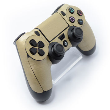 Playstation 4 (PS4) CONTROLLER 3D Textured BRUSHED METAL Champagne GOLD Skin