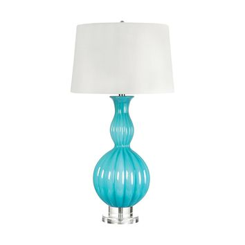283 Glass Gourd Table Lamp In Powder Blue