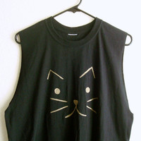 Muscle Tee Cat Shirt Soft Grunge Festival Clothing Oversized Top
