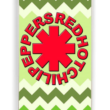 iPhone 4 Case - Hard (PC) Cover with Red Hot Chili Peppers Green Chevron Plastic Case Design
