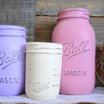 Shabby Chic Painted Mason Jars - Set of 3 - Rose Pink, Lavender, Cream - Centerpiece - Vase