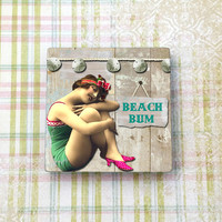 "Seaside Beach Bum Vintage Woman Magnet, Refrigerator, Fridge, Cubicle Decor, Dorm Decor, Kitchen Decor, 2"" (5cm) Square Ceramic Tile Magnet"
