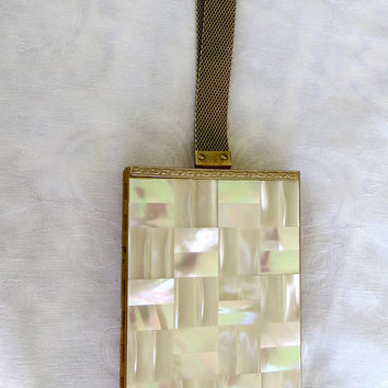 Mother of Pearl Compact Purse, Vintage Compact Handbag, 1950s Cigarette Holder, Wedding, Bride