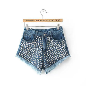 Stylish Tassels Denim Shorts Women's Fashion Casual Jeans [5013158084]