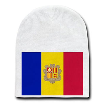 Andorra - World Country National Flags - White Beanie Skull Cap Hat